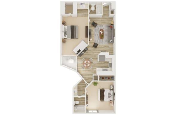 Mission Lofts Apartments 2x2 B 2D Floor Plan