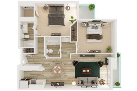 Mission Lofts Apartments 2x2 C 2D Floor Plan