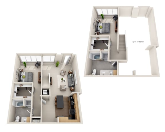 Waterscape at Juanita Village Apartments A1CT Floor Plan