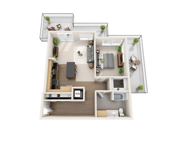 Waterscape at Juanita Village Apartments A1I Floor Plan