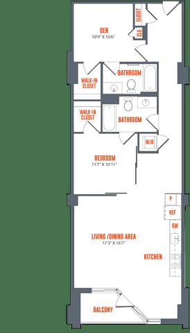 Floor Plan  Legacy West End Apartments B1a Floor Plan