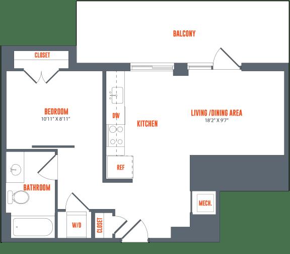 Floor Plan  Legacy West End Apartments A18 Floor Plan
