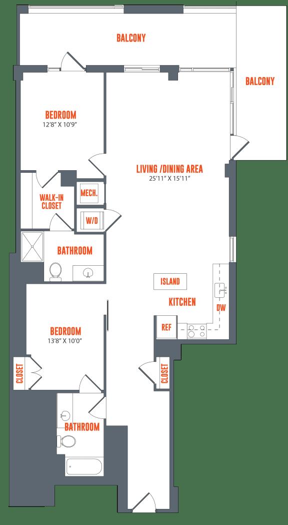 Floor Plan  Legacy West End Apartments B11 Floor Plan
