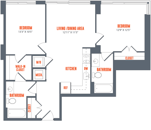 Legacy West End Apartments B12 Floor Plan