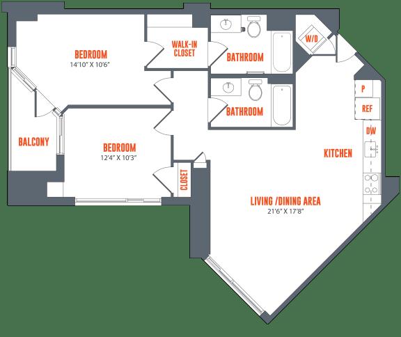 Floor Plan  Legacy West End Apartments B4 Floor Plan