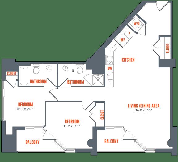 Floor Plan  Legacy West End Apartments B8 Floor Plan