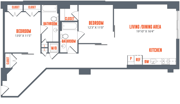 Legacy West End Apartments B9 Floor Plan