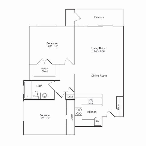 Northridge Apartments 2x1 B Floor Plan