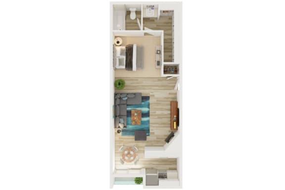 Mission Lofts Apartments 3D Studio Floor Plan