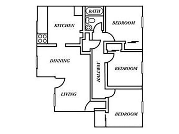 Holladay Hills Apartments 3x1 Floor Plan