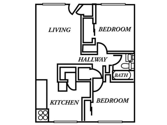 Holladay Hills Apartments 2x1 Floor Plan