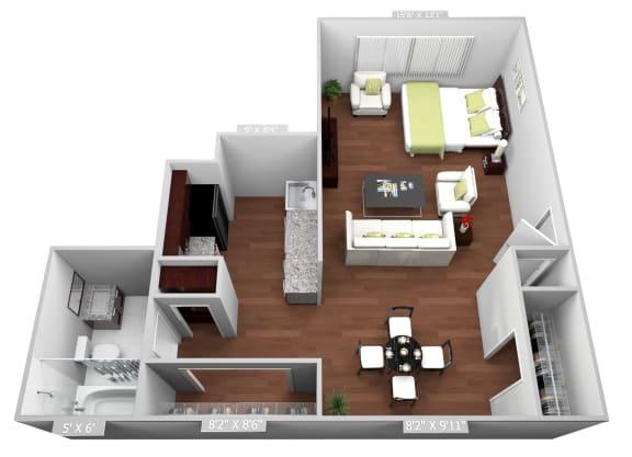 Floor Plan  Studio Floor Plan at Highland Club Apartments, Watervliet, NY, 12189