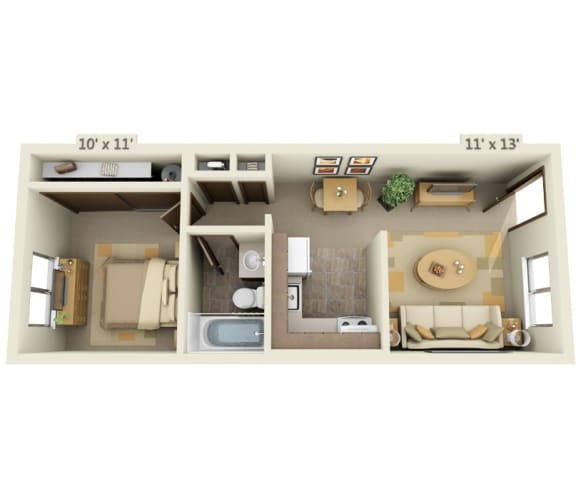 Floor Plan  Garden Glen II 1x1 Floor Plan 476 Square Feet