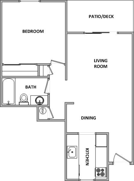 Floor Plan  Garden Glen II 1x1 Floor Plan 646 Square Feet