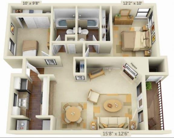 Sunstone Parc Apartments 2x2 Floor Plan 906 Square Feet