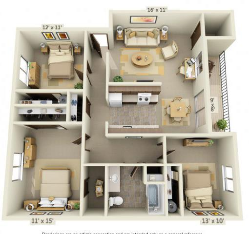 Floor Plan  Cedar Lane 3x1 Floor Plan 1016 Square Feet