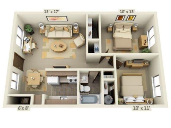 Floor Plan  Cedar Lane 2x1 Floor Plan 748 Square Feet