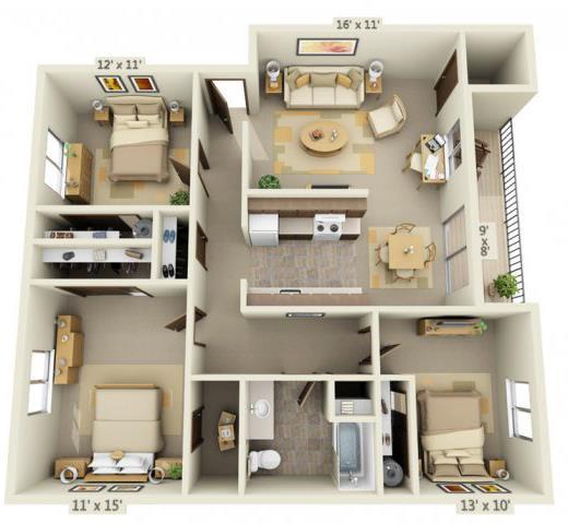 Floor Plan  Cedar Lane II 3x1 Floor Plan 1252 Square Feet