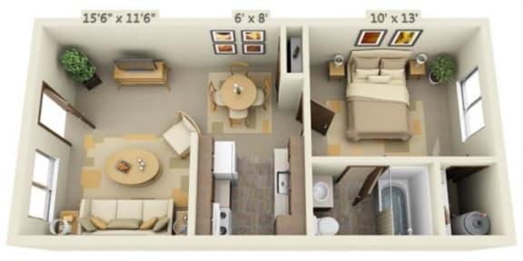 Floor Plan  Cedar Lane II 1x1 Floor Plan 544 Square Feet