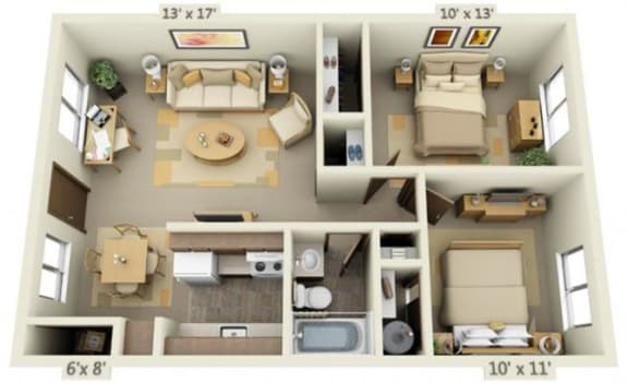 Floor Plan  Cedar Lane II 2x1 Floor Plan A 748 Square Feet