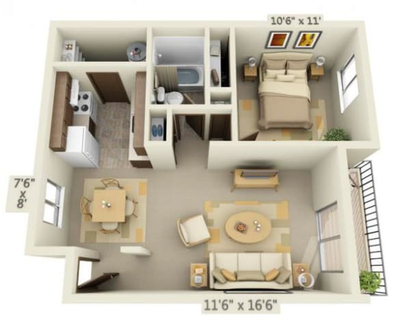 Floor Plan  Garden Glen 1x1 Floor Plan 592 Square Feet