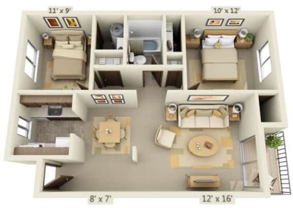 Floor Plan  Garden Glen II 2x1 Floor Plan A 776 Square Feet
