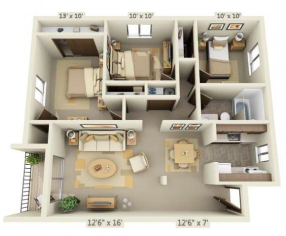 Floor Plan  Garden Glen II 3x1 Floor Plan 943 Square Feet