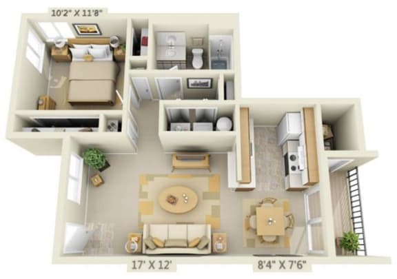 Floor Plan  Shadow Hills Apartments 1x1 West Floor Plan A 688 Square Feet