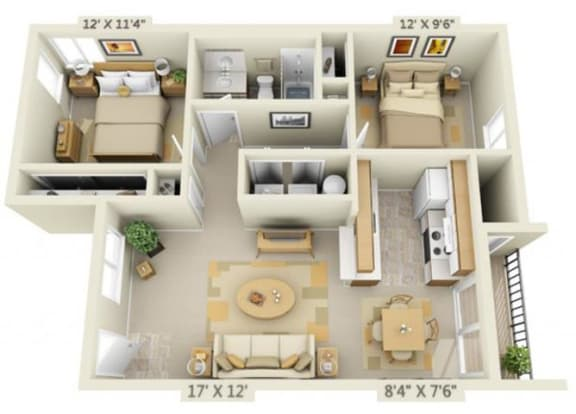 Floor Plan  Shadow Hills Apartments 2x1 West Floor Plan 803 Square Feet