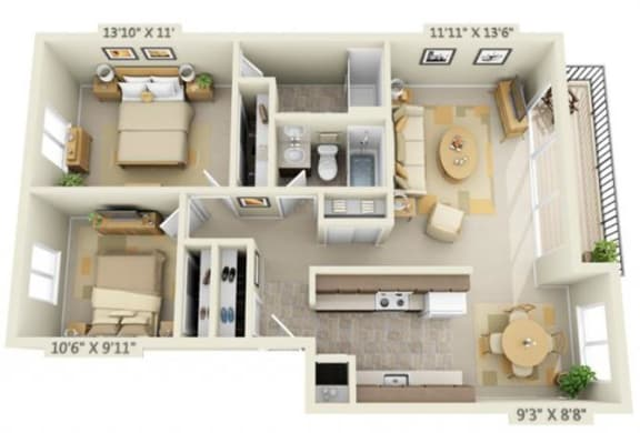 Floor Plan  Shadow Hills Apartments 2x2 Original Floor Plan 1000-1050 Square Feet
