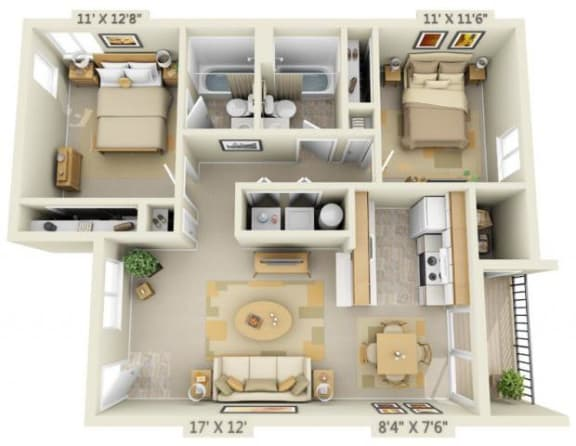 Floor Plan  Shadow Hills Apartments 2x2 West Floor Plan A 875 Square Feet