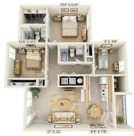 Floor Plan  Shadow Hills Apartments 3x2 West Floor Plan A 1067 Square Feet