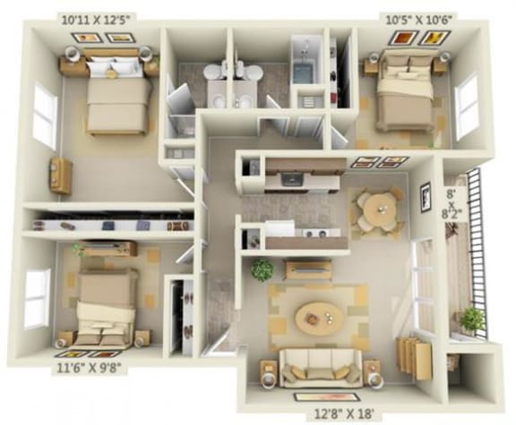 Floor Plan  Shadow Hills Apartments 3X2 Original Floor Plan 1170 Square Feet