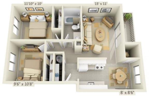 Rolling Hills Apartments 2x1 Floor Plan 750 Square Feet