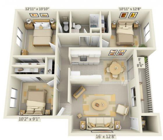 Rolling Hills Apartments 3x1.5 Floor Plan 1035 Square Feet