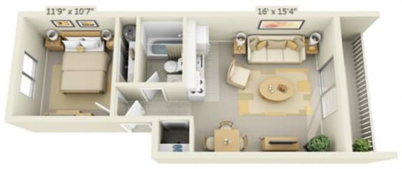 Rolling Hills Apartments Super Studio 0x1 Floor Plan 520 Square Feet