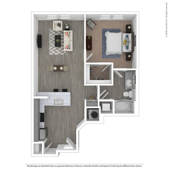 Floor Plan  A1C One Bed One Bath Floor Plan at Integra Sunrise Parc, Kissimmee, Florida