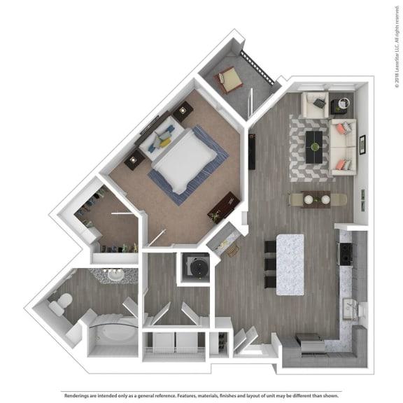 Floor Plan  A1D One Bed One Bath Floor Plan at Integra Sunrise Parc, Kissimmee