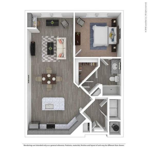 Floor Plan  A1F One Bed One Bath Floor Plan at Integra Sunrise Parc, Florida, 34746