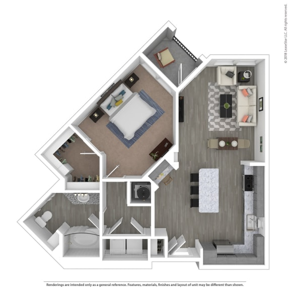 Floor Plan  A1G One Bed One Bath Floor Plan at Integra Sunrise Parc, Kissimmee, FL, 34746