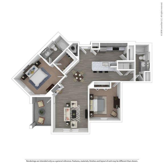 Floor Plan  B2B Two Bed Two Bath Floor Plan at Integra Sunrise Parc, Kissimmee, 34746