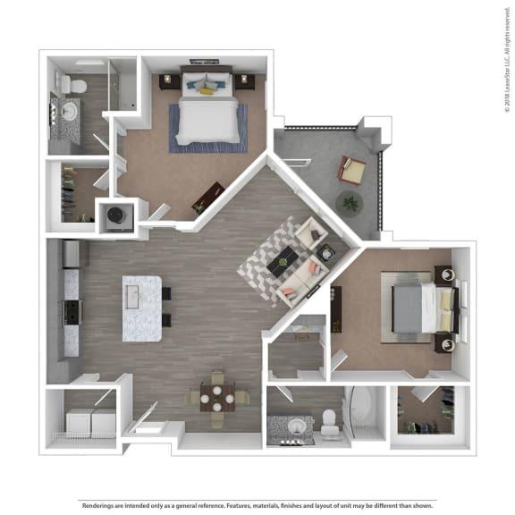 Floor Plan  B2C Two Bed Two Bath Floor Plan at Integra Sunrise Parc, Florida, 34746