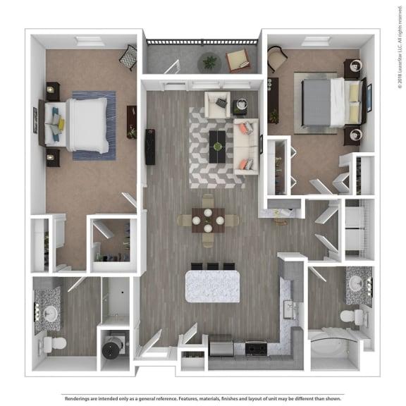 Floor Plan  B2D Two Bed Two Bath Floor Plan at Integra Sunrise Parc, Kissimmee