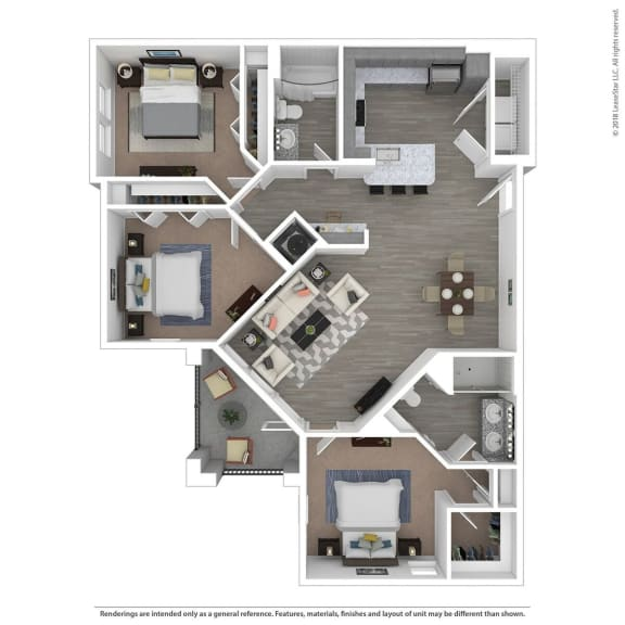 Floor Plan  C2A Three Bed Two Bath Floor Plan at Integra Sunrise Parc, Kissimmee, Florida