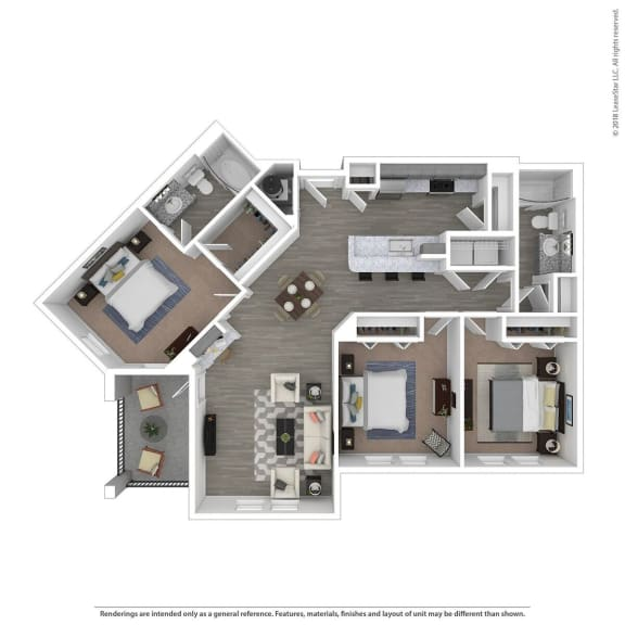 Floor Plan  C2B Three Bed Two Bath Floor Plan at Integra Sunrise Parc, Florida
