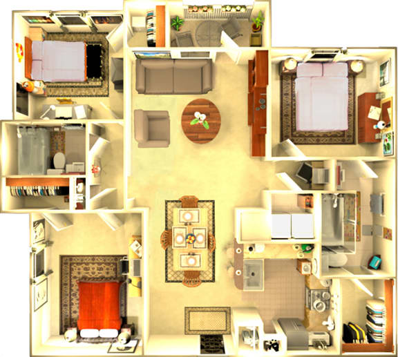 Floor Plan  The Amsterdam 3 bedroom floorplan