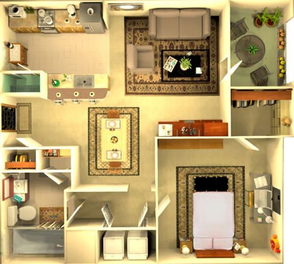Floor Plan  The Athens 1 bedroom floorplan