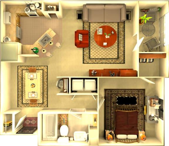 Floor Plan  The Montreal 1 bedroom Floorplan