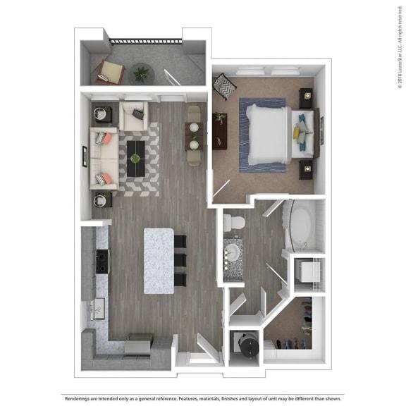 Floor Plan  A1A One Bed One Bath Floor Plan at Integra Sunrise Parc, Florida, 34746