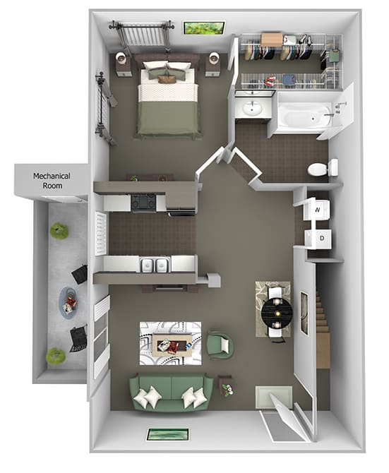 Antelope Ridge - A1 Oryx with Garage - 1Bed 1 Bath - 3D Floor Plan